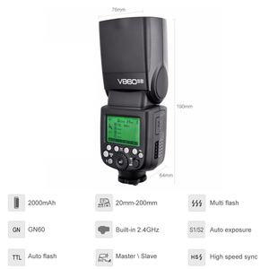 Image 3 - Godox V860II S V860II C 860ii n V860II F V860II O gn60 ttl hss li ion bateria speedlite flash para sony nikon canon olympus fuji