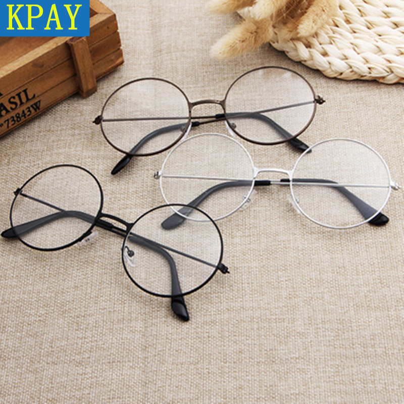 KPAY 2019 New Classic Flat Myopia Optical Mirror Simple Metal Women Men Fashion Glasses Frame Vintage Glasses Frame Round Lens