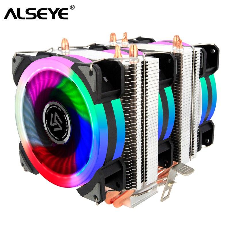 ALSEYE Torre Dual CPU cooler 4 tubos de calor 4pin 90mm RGB ventilador para ordenador procesador 5 color ventilador de refrigeración refrigerador para Intel y AMD