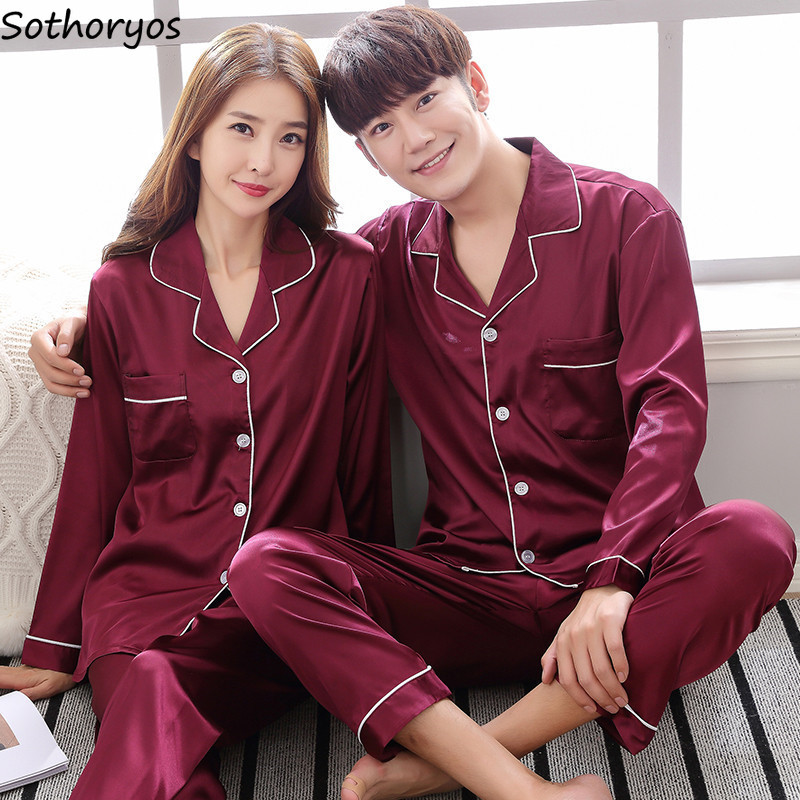 Pajamas Sets Women Turn-down Collar Couples Soft Silk Pajamas Womens Large Size Long Sleeves Simple Homewear 2 Pieces Trendy Set