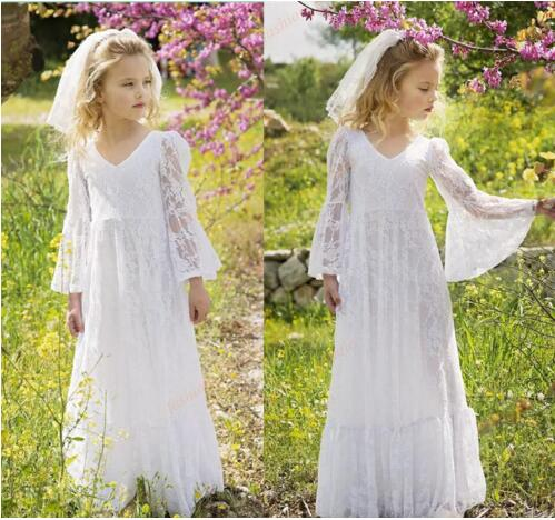 White Soft Lace Princess Dresses With Full Sleeves V-Neck Csutom Made Flower Girl Dress For Wedding Holy First Communion Gowns