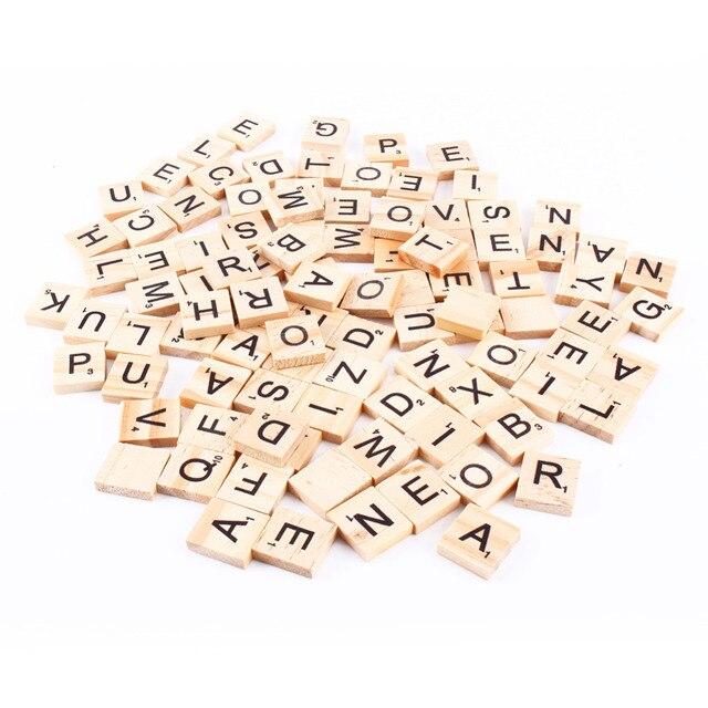 100 шт. Деревянный Алфавит Эрудит Плитки черный буквы и цифры для изделия из дерева
