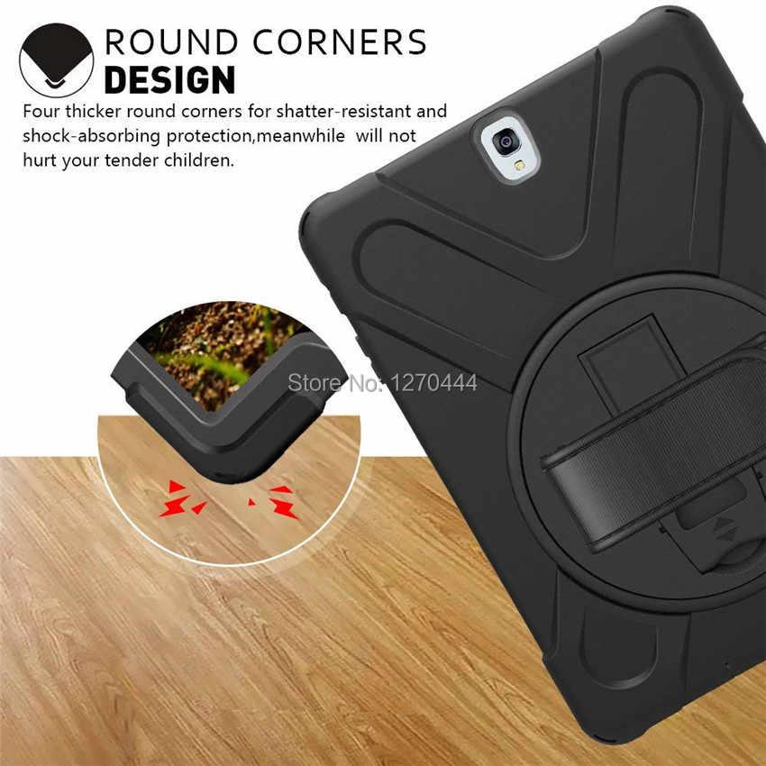 Do Samsung Galaxy Tab S3 9.7 SM-T820 T820 T825 T829 PC + silikonowa twarda okładka w/360 obrotowy stojak uchwyt, pasek na rękę i pasek na szyję