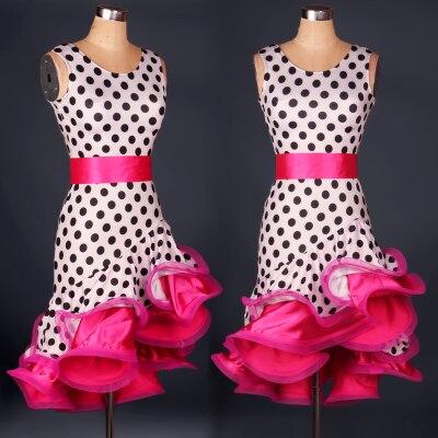 custom custmize polka dot spiral fishbone latin Rumba cha cha salsa tango one-piece dance dress competition wear S-XXXL