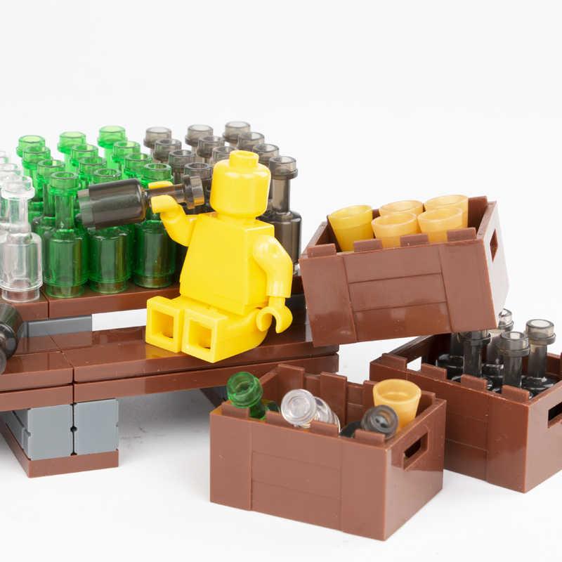 Mini Acessórios Da Cidade Blocos de Construção de Peças de Copos de Bebidas Garrafa de Vinho Utensílio Amigos Figura Brinquedos Para Crianças Tijolos Compatíveis C013