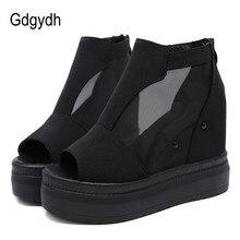 45ba6f3a208 Gdgydh de malla abierta del dedo del pie de verano zapatos de mujer zapatos  de plataforma de tacón de cuña de gamuza tobillo bot.