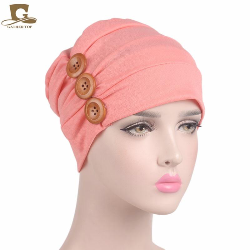 цены на New luxury Womens soft chemo Cap Sleep Turban Hat Liner for Cancer Hair Loss three wood button в интернет-магазинах