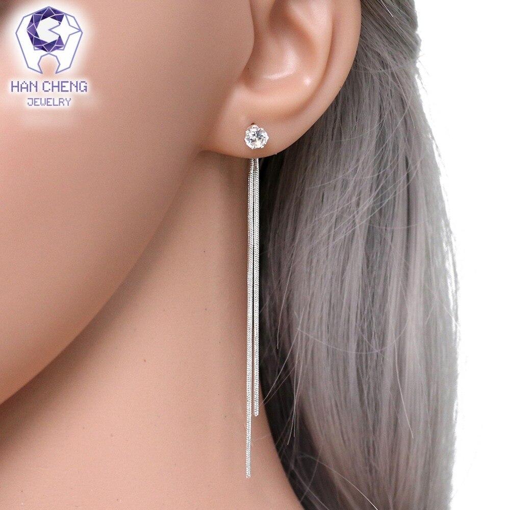 HanCheng New Fashion Silver Plated Dangle Hanging Gem Stone Rhinestone Long Drop Earrings For Women Jewelry brincos bijoux