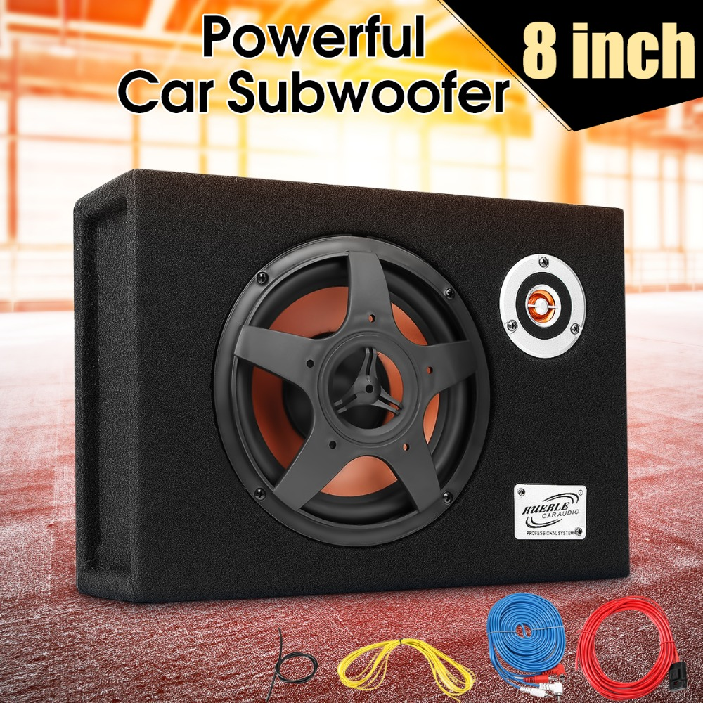 8 480w 12v Car Subwoofer Slim Under Seat Speaker 21mm Audio Sub 250 Watt Rms 4channel Amplifier Amp Wire Kit Savings 15 16