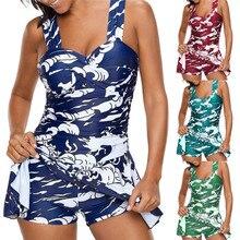 Large Size Swimwear Dress Body Suits Swimsuit Women With Skirt Retro Conservative Swimming Beach Female uimapuku Beachwear 4N