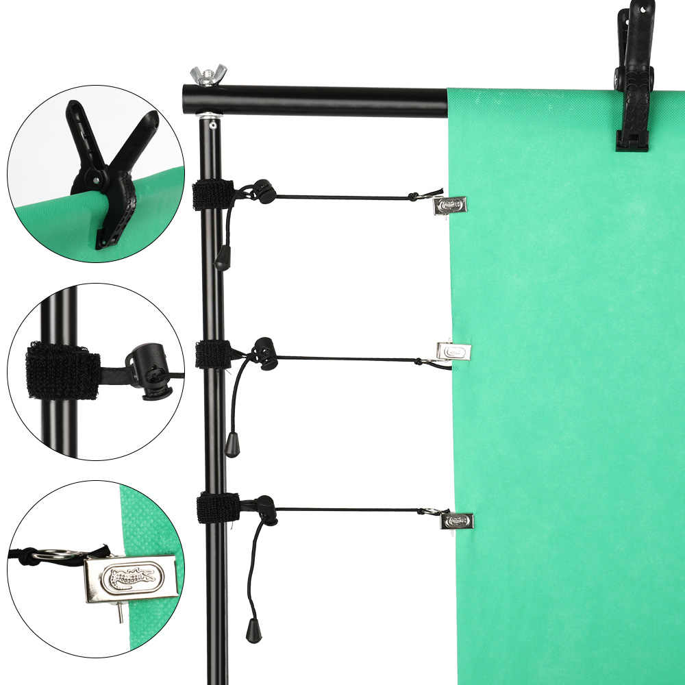 4 Uds fotografía primavera Clips y abrazaderas laterales fondo fijo muselina y pantalla verde para soporte de fondo