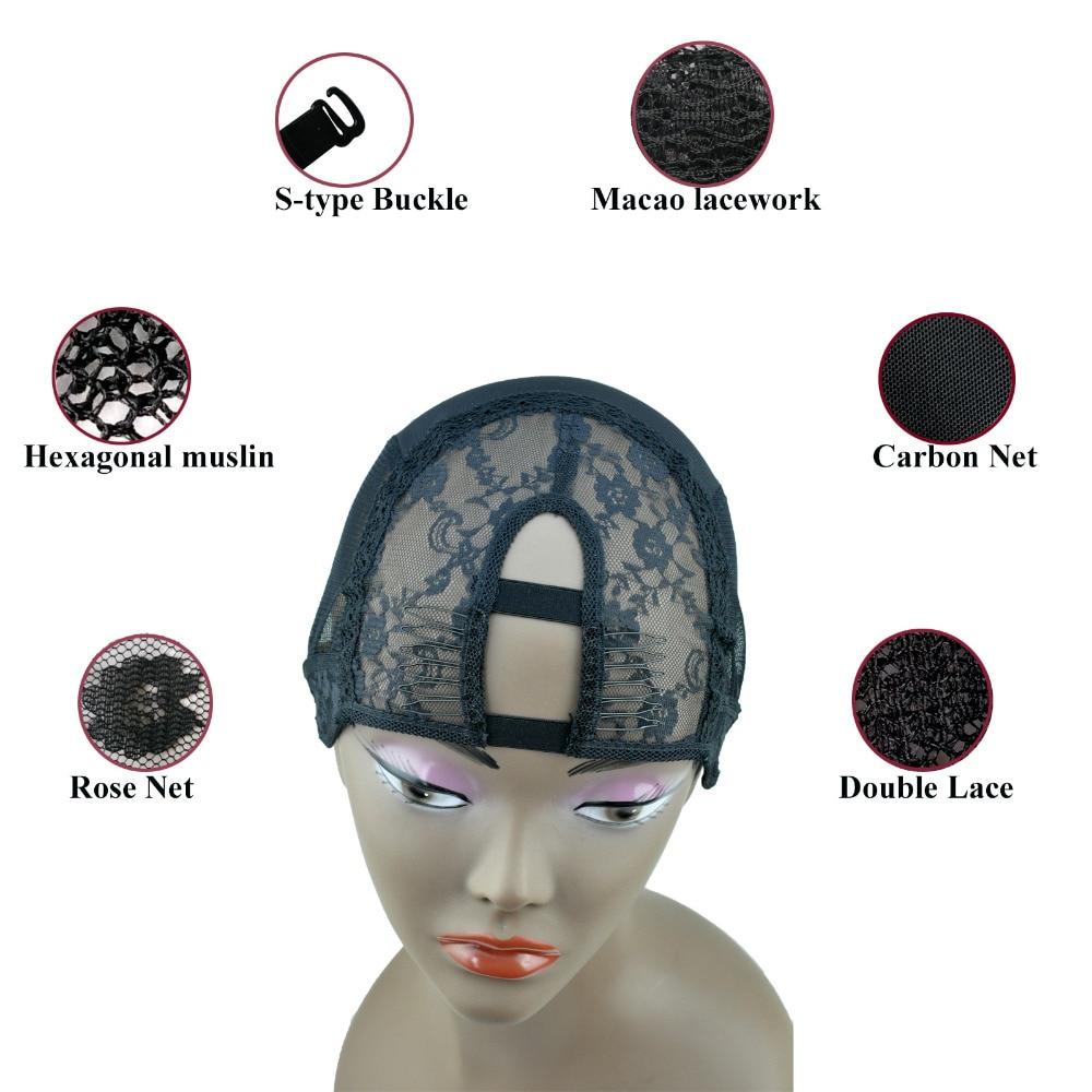 2 Kombiner S / M / L Størrelse-Mellom U Del Veving Parykk Cap Stifting Innvendig Innerfor Parykk Making Hair Extension Weft DIY Black Color