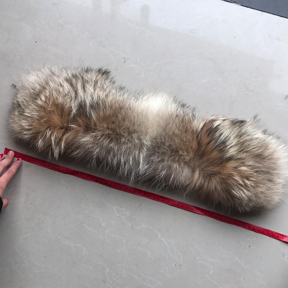 Real colored coyote tail fur trim for glove scarf accessories