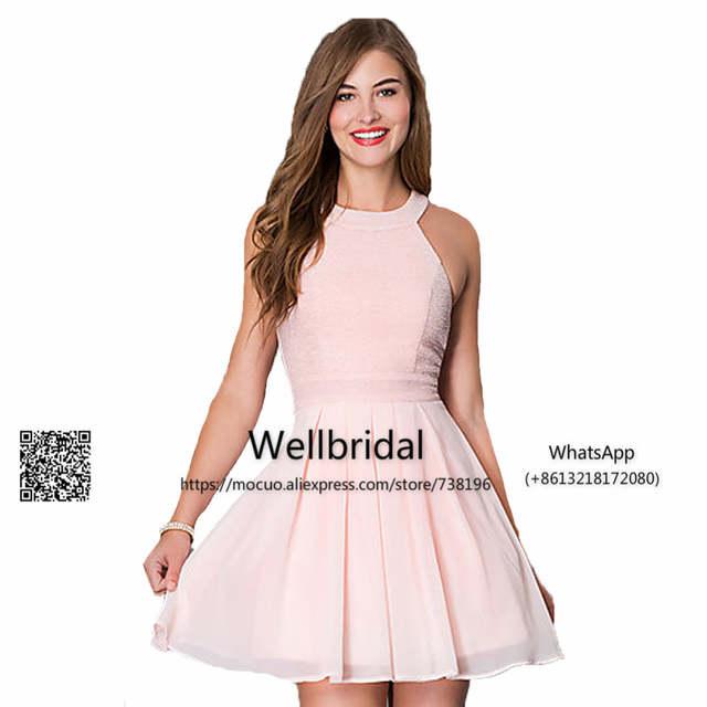 25a08bc8e Simple Mini Dresses 2017 Junior Bridesmaid Dresses Pink Chiffon Off  Shoulder Short Wedding Party Dress Formal