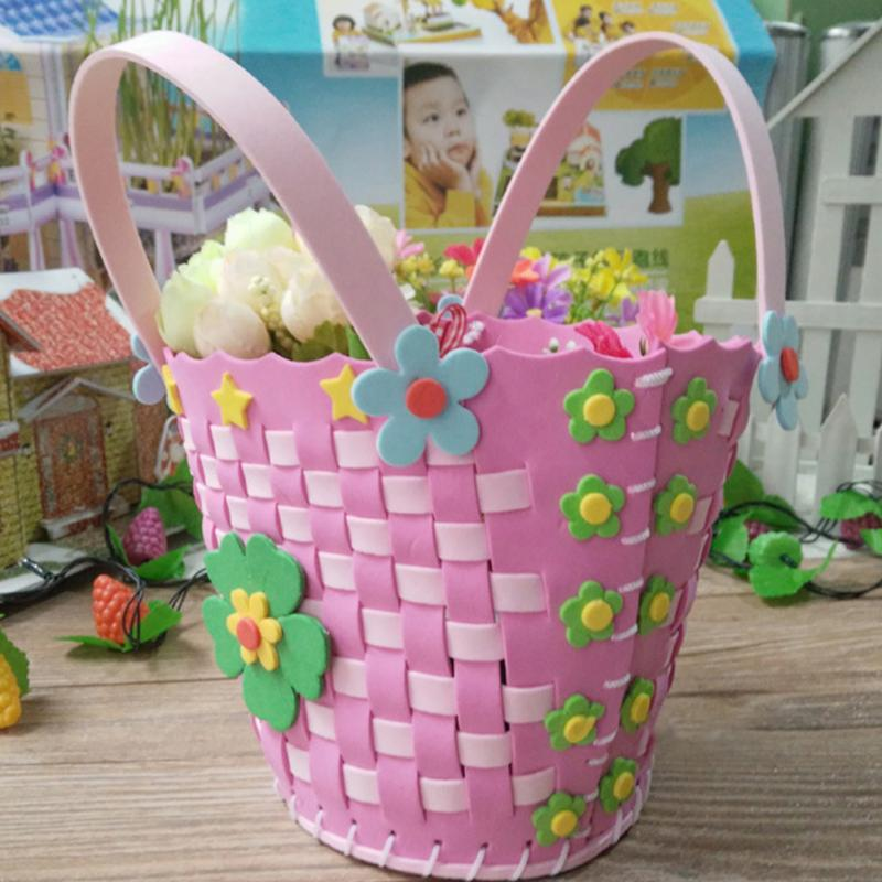 Kids Braided Basket Handmade Crafts Flower Sewing Weave Basket Children DIY Basket Kindergarten Creative Education Child Toys