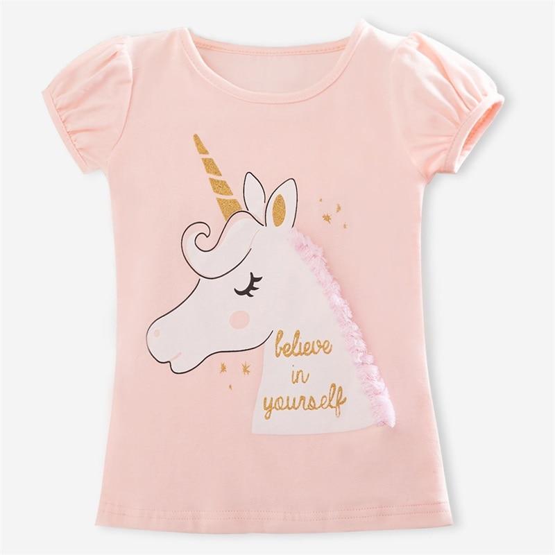 Футболки для маленьких девочек Детская летняя футболка для мальчиков и девочек детская футболка с принтом единорога Повседневная забавная одежда для малышей футболки