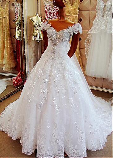 Amazing Tulle Off Shoulder V Neck Wedding Dresses 2019 Court Train Ball Gown Custom Make Vestidos