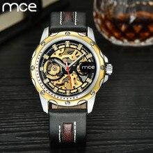 MCE 2016 Top Luxury brand Men Mecánico Automático Esquelético del reloj de los hombres Relojes de Pulsera de Cuero de Alta calidad Con Caja de Regalo Original