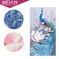 Meian Peacock DIY Diamond Painting Special Flowers Diamond Embroidery Full Cross Stitch Diamond Mosaic Bead Picture