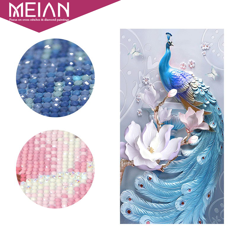Meian,PeacockDIY,Diamond Painting,SpecialFlowers Diamond Embroidery,Full,Cross Stitch,Diamond Mosaic,Bead Picture,Home Decor