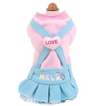 New Dog Pet Dress Coat Autumn Winter Fleece Warm LOVE Strap Ruffle Style Apparel Outfit XS S M L XL