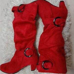 Image 4 - Nouvelles femmes à talons hauts automne mi mollet bottes femme fermeture éclair boucle plate forme Sexy Spike talons grande taille dames chaussures de mode