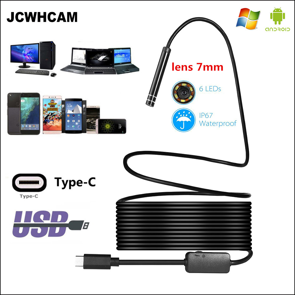 JCWHCAM USB TYPE-C Endoscope Inspection Mini Camera Lens 7mm 1/3/5/7/10M Flexible Snake Cable Android Endoscope Video Camera genuine fuji mini 8 camera fujifilm fuji instax mini 8 instant film photo camera 5 colors fujifilm mini films 3 inch photo paper