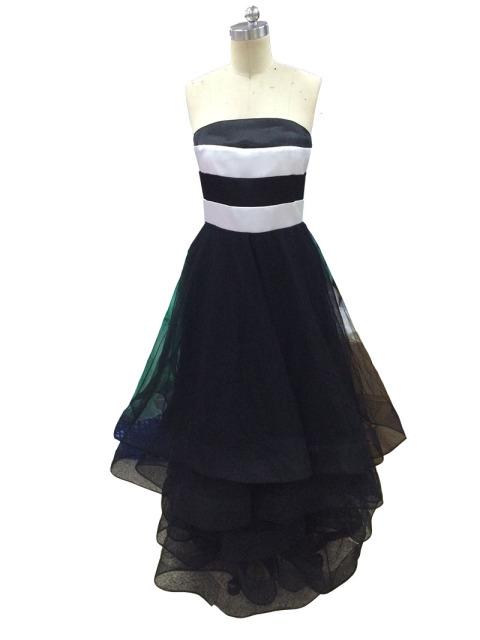 e4a81d2c1f Simple A-Line Strapless Black and White Bridesmaids Dresses Long Tulle Ruffles  Party Bridesmaids Gowns