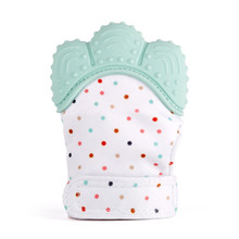 Hot sell Safe Silicone Baby Mitt Teething Mitten Teething Glove Candy Wrapper Sound Teether