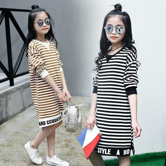Осень Мода для девочек-подростков Платья для женщин Повседневное простой  принт в полоску Детские платья c1fd3af2176