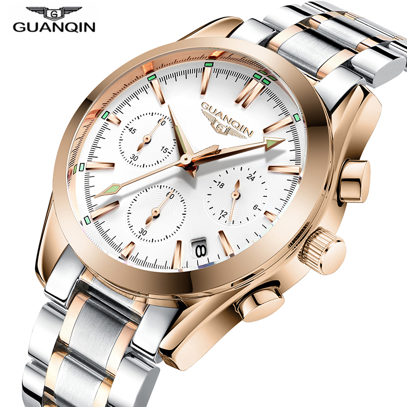 2018 New Top Brand GuanQin Business Watch Men Quartz Watch Steel Auto Date Chronograph Male Clock Luminous Watches Men Luxury цена
