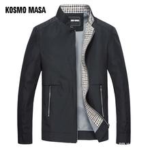 KOSMO MASA สีดำแจ็คเก็ตบุรุษฤดูใบไม้ร่วงฤดูใบไม้ผลิ 2018 ชายเสื้อบาง Windbreaker คอยืนเสื้อลำลองสำหรับผู้ชาย Outwear MJ0066
