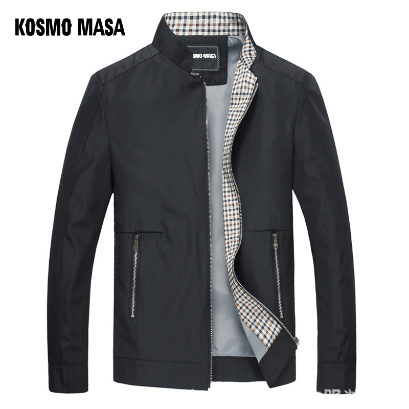 KOSMO MASA Black Jacket Mens Autumn Spring 2018 Man Thin Jackets Windbreaker Collar Stand Casual Jacket for Men Outwear MJ0066-in Jackets from Men's Clothing
