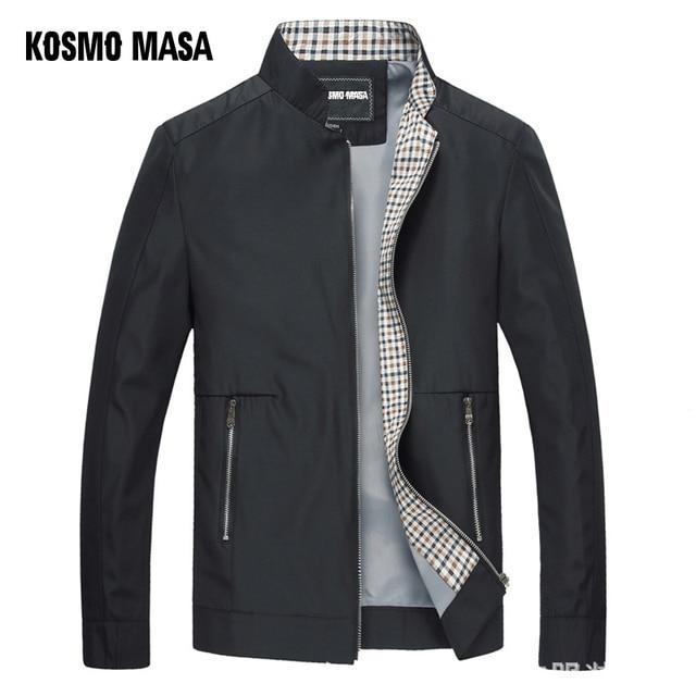 KOSMO MASA Áo Khoác Màu Đen Mens Mùa Thu Mùa Xuân 2018 Người Đàn Ông Mỏng Áo Khoác Áo Gió Cổ Áo Đứng Cổ Áo Giản Dị Áo Khoác dành cho Nam Giới Outwear MJ0066