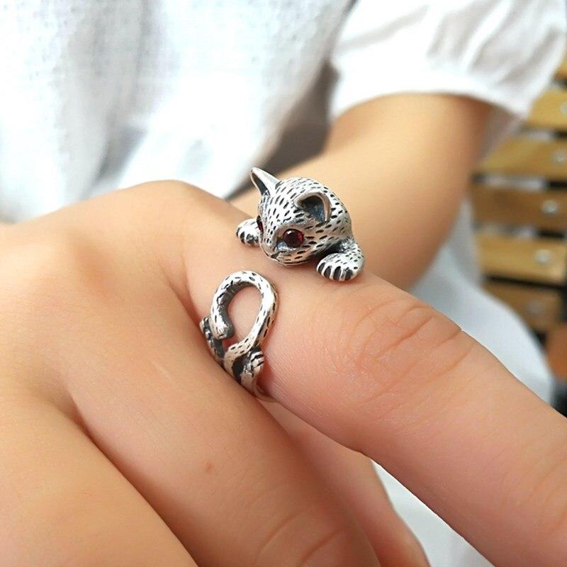 Женское кольцо серебряного цвета в стиле ретро, обручальные кольца в виде кошки, вечерние подарки, регулируемый размер