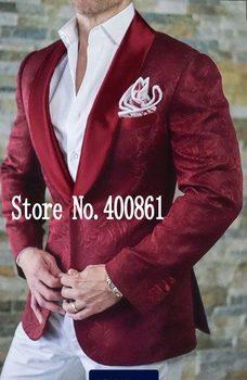 Fashionable One Button Burgundy Paisley Groom Tuxedos Shawl Lapel Groomsmen Men Blazers Suits (Jacket+Pants+Tie) NO:330