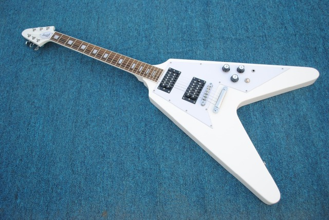 Mahoagny Body White Pickguard GIB Flying V Electric guitar Guitarra all color Available Free Shipping
