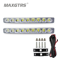 2x High Power 9 Led 18W Led Car Light DRL Metal Shell Light Source Waterproof Car