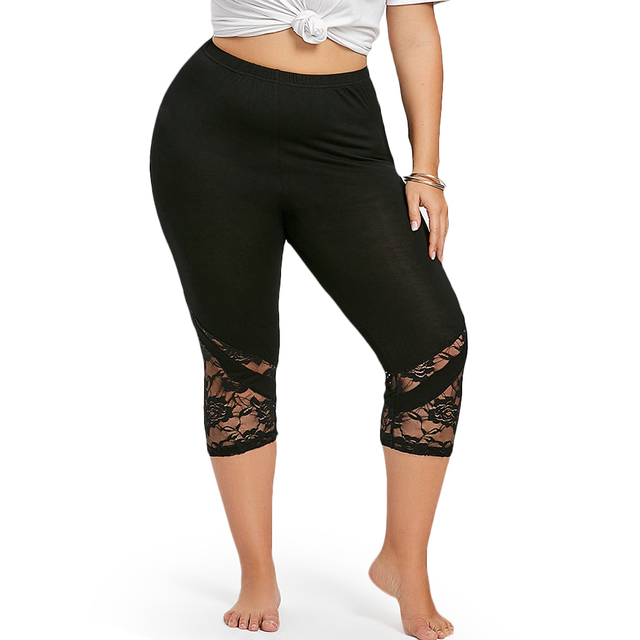 3e030eb66054a Wipalo Women Summer Sexy Fitness Legging Plus Size 5XL Lace Trim Capri  Leggings Women Workout Leggings Push Up Leggings Big Size-in Leggings from  Women s ...