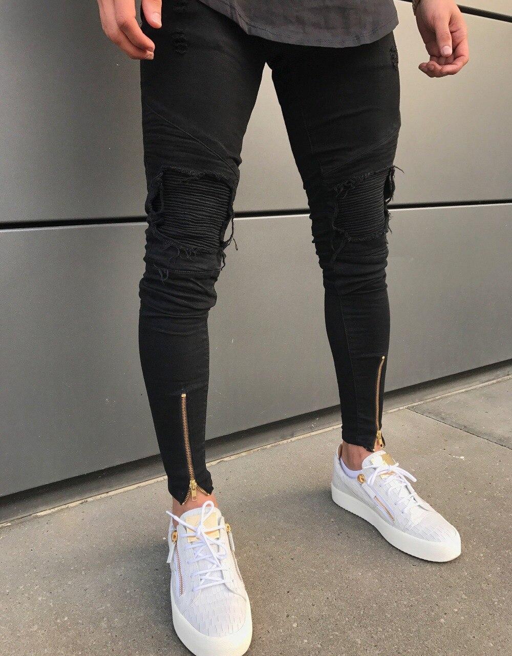 fcbdbbc758a Aliexpress.com: Comprar 2018 nuevos pantalones vaqueros rasgados con  agujeros con cremallera skinny biker jeans negro blanco con patchwork  plisado slim fit ...