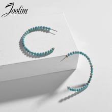 Joolim 6cm 3 Quater Natural Stone Bead Hoop Earring Blue Pink  Earrings Folk Style
