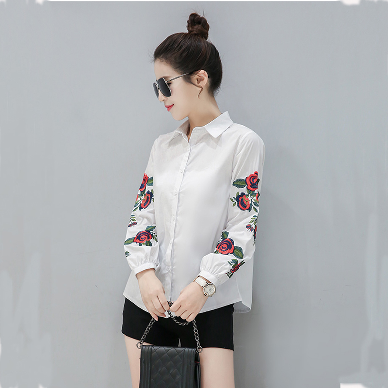 Elegant Turn-down Collar Casual Blouses vetement femme Floral Embroidery Long Sleeve Loose Shirt Women Blouse Button Womens Tops