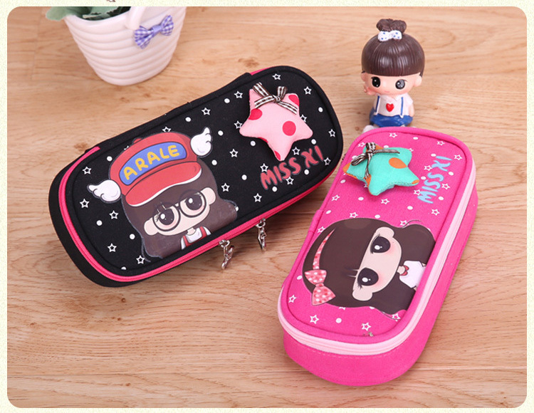 Cute Girl Coded lock Pen Pencil Case Box Stationary Pouch Bag Canvas Makeup Bags
