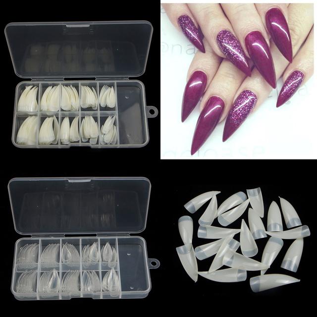 TKGOES 100pcs+Box Professional Fake Nails Long Stiletto Nails Half Cover French Acrylic Nail Tips Sharp Ending False Nails Tips