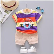 2019 Summer Toddler Children Clothes Suits  Baby Boys Girls  Clothing Sets  Cartoon Striped Shirt   Shorts Kids Infant Suit цена и фото