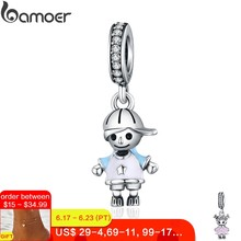 Mid-Year Sale New 100% 925 Sterling Silver Couple Little Girl & Boy Pendant Charm fit Girls Charm Bracelet DIY Jewelry SCC544(China)