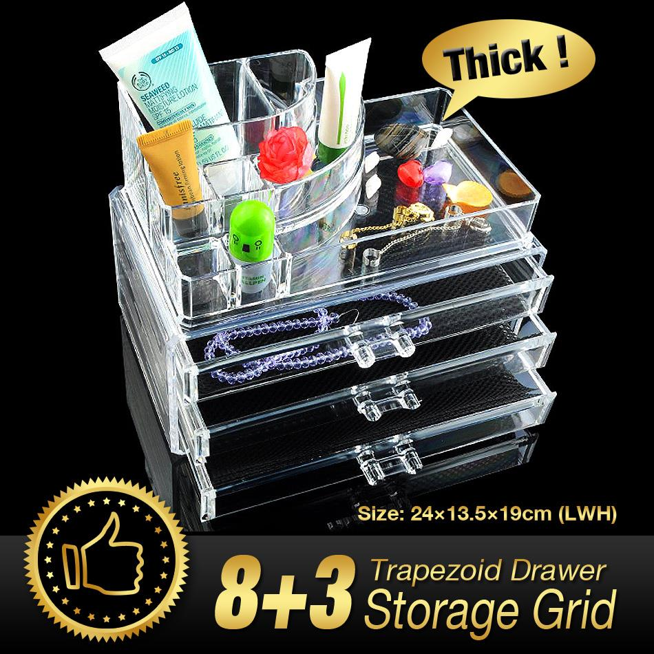 Cheap+ Acrylic Makeup Organizer cosmetic organizer jewelry acrylic makeup case 3 drawers lipstick holder storage box-in Storage Boxes & Bins from Home ...