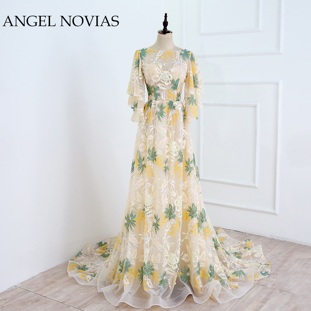Real Picture Long Champagne Elegant Embroidery Formal Woman   Evening     Dress   2018 Backless Dubai Party   Dress   ANGEL NOVIAS