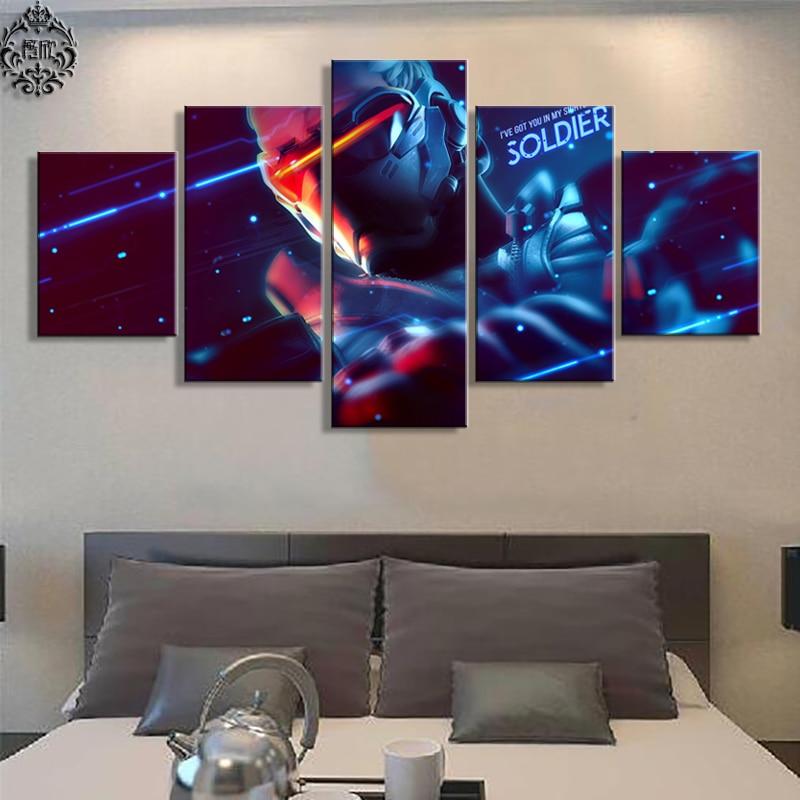 Moderne Wandkunst Malerei 5 Panel Overwatch Soldat 76 Spiel Poster  Wohnkultur Für Wohnzimmer Leinwand Gedruckt Bilder