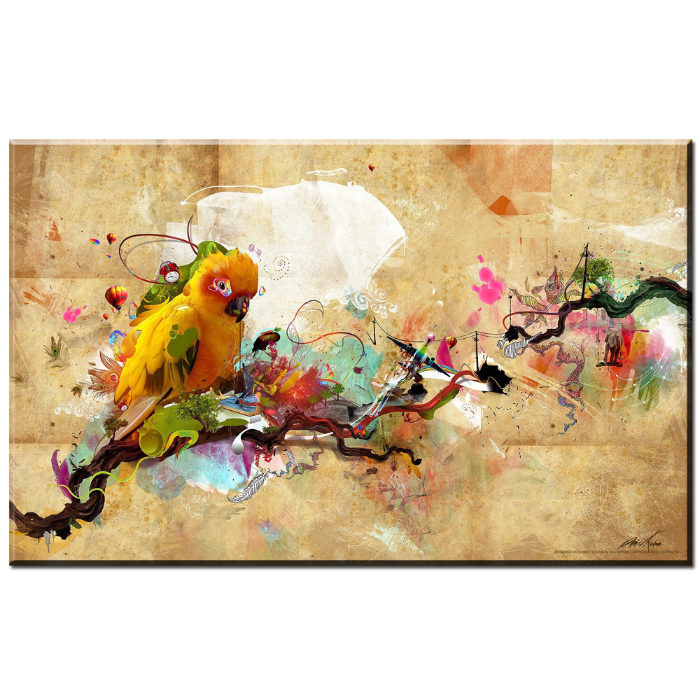 xdr736 Animal prints Parrot Bird Oil Painting on Canvas Modern ...